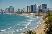 picture of israel people  - The Tel Aviv Israel sky line and the Mediterranean beach from Jaffa - JPG
