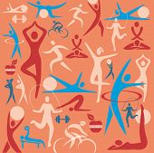 Fitness icons decorative background