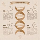 stock photo of genes  - vintage medical infographics design template - JPG