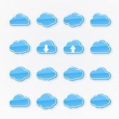 blue cloud icons of different shapes