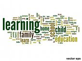 Vector eps concept or conceptual learning and education abstract word cloud on white background