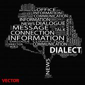 stock photo of dialect  - Vector eps concept or conceptual white dialect tree word cloud on black background wordcloud - JPG