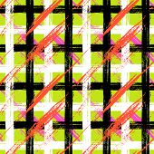 stock photo of cross-hatch  - Vector seamless plaid pattern with bold brushstrokes and stripes in bright variety of colors can be used for web - JPG
