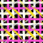 picture of cross-hatch  - Vector seamless plaid pattern with bold brushstrokes and stripes in bright multiple colors can be used for web - JPG