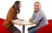 foto of rude  - rude interracial couple on a bad date - JPG