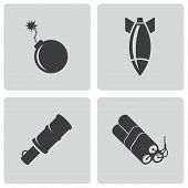 pic of bomb  - Vector black bomb icons set on white background - JPG