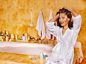 Woman relaxing at home luxury bath.