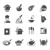 picture of pestle  - Cooking kitchen and restaurant icons set with utensil chef and food isolated vector illustration - JPG