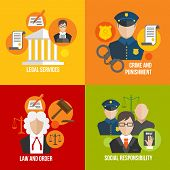 foto of law order  - Legal services crime and punishment law and order social responsibility icons set isolated vector illustration - JPG