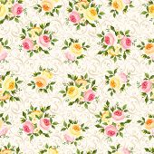 picture of english rose  - Vector vintage seamless pattern with pink - JPG