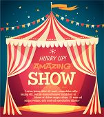 stock photo of cartoons  - Circus tent poster - JPG