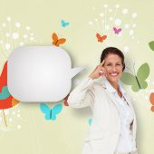 Thinking businesswoman with speech bubble against orange bird with heart and dandelions