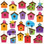 stock photo of trailer park  - Vector Set of Cute and Colorful Bird Houses - JPG