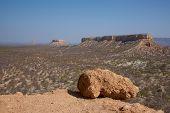 pic of arid  - Arid landscape of flat topped mountains set amongst the vast plains of Damaraland in Namibia  - JPG