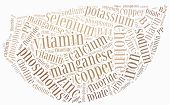 picture of potassium  - Word cloud related to nutrients included in fruits and vegetables - JPG