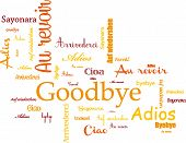 image of goodbye  - Background orange and red - JPG
