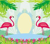 stock photo of pink flamingos  - vintage frame  - JPG