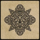 image of maori  - vector sun with tiger face in the centre on rough paper texture tattoo sketch Polynesian tattoo style - JPG