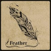 stock photo of std  - Vector highly detailed hand drawn tattoo feather on rorgh paper texture place for your text AI standart font Birch std - JPG