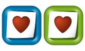 Set Of Two Icons With Paper And Heart