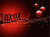 stock photo of christmas party  - Silhouettes of people dancing on a Christmas background - JPG