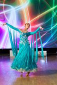 pic of waltzing  - Female dancer performs at dance championship - JPG