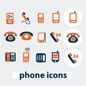 phone icons, signs, elements set, vector