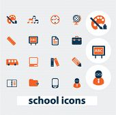 school, study, education icons, signs, elements set, vector