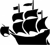 foto of galleon  - Vector illustration of a galleon and full sails - JPG