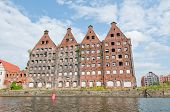 picture of polonia  - Old and renovated buildings over Motlava River in Gdansk Poland - JPG