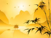 Oriental style painting, Bamboo in sunset scene