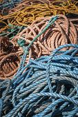 Pile of fishing ropes in North Rustico, Prince Edward Island, Canada.
