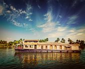 picture of houseboats  - Vintage retro hipster style travel image of travel tourism Kerala background  - JPG