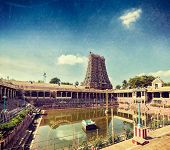 stock photo of tamil  - Vintage retro hipster style travel image of Sri Menakshi Temple water tank - JPG