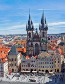 View of Tyn Church (Tynsky Chram) on Old City Square from Town Hall. Prague, Czech Republic