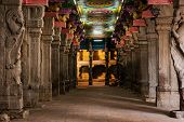 stock photo of tamil  - Passage in Sri Menakshi Temple - JPG