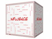 picture of peer-pressure  - Influence Word Cloud Concept on a 3D cube Whiteboard with great terms such as example control beliefs and more - JPG