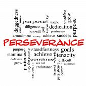 pic of perseverance  - Perseverance Word Cloud Concept in red caps with great terms such as endurance doggedness purpose and more - JPG