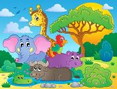 Cute African animals theme image 8 - eps10 vector illustration.