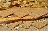 foto of hardtack  - Cereal crackers and seed on the kitchen