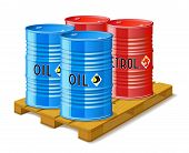 image of wooden pallet  - Wooden pallet metal barrels with oil and gasoline are on white background - JPG
