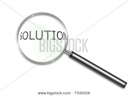 Magnifying glass over the word Solution