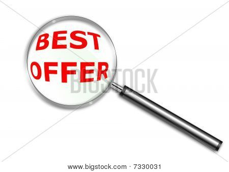 Magnifying glass over the words Best Offer