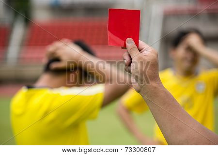 Referee Soccer Show Card For Warning And  Recorded Player Foul