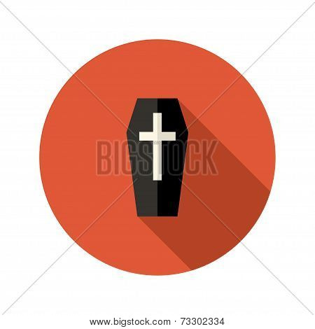 Black Coffin Flat Icon With Cross