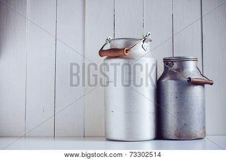 Vintage Aluminum Milk Cans