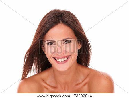 Happy Beautiful Woman Laughing At Camera