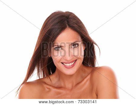 Adult Hispanic Female Smiling At Camera