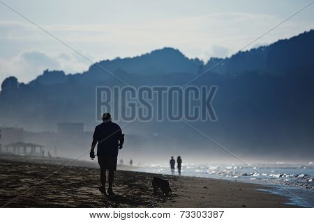 At cold evening mature man walking on the beach with his dog, silhouette of adult man walking