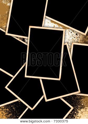 Old Vintage Photo Frames On Grunge Style Background